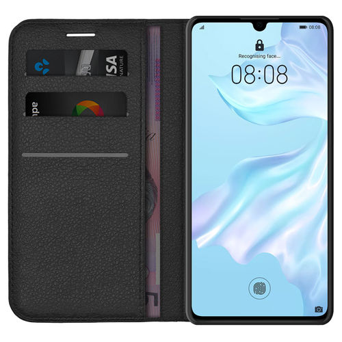 Leather Wallet Case & Card Holder Pouch for Huawei P30 - Black